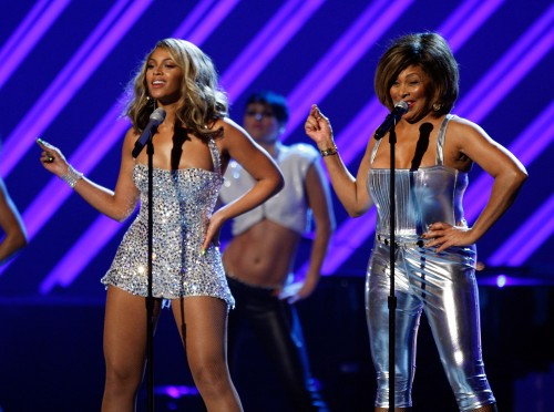 LOS ANGELES, CA - FEBRUARY 10: Singers Beyonce Knowles (L) and Tina Turner perform onstage during the 50th annual Grammy awards held at the Staples Center on February 10, 2008 in Los Angeles, California. (Photo by Kevin Winter/Getty Images)